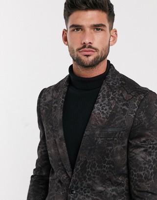 Burton Menswear jersey blazer in grey animal print