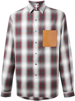 Loewe logo patch plaid shirt - men - Leather/Viscose/Wool - S