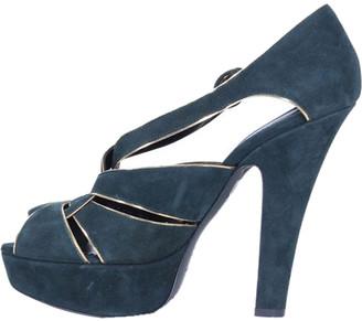 Dolce & Gabbana Green Suede Platform Sandals Size 38.5