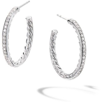 David Yurman Small Hoop Earrings with Pave Diamonds