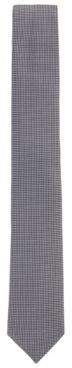 HUGO BOSS Hand Made Patterned Tie In Pure Silk Jacquard - Dark Blue