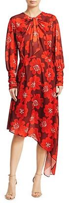 Dodo Bar Or Melody Long-Sleeve Asymmetric Floral A-Line Shirtdress
