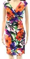Lauren Ralph Lauren Orange Women's 2P Petite Floral Sheath Dress