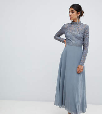 Little Mistress Tall lace top full midi prom dress-Grey
