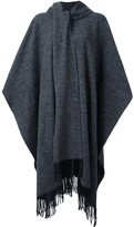 YMC fringed cape - women - Wool/Polyamide/Viscose/Polyester - 8