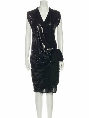 Lanvin V-Neck Knee-Length Dress Black