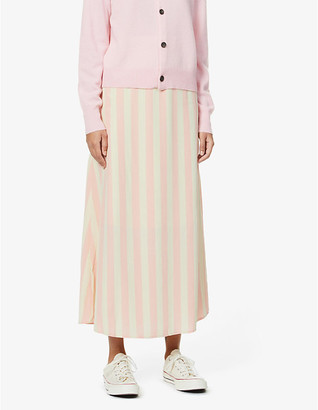 Won Hundred Carol striped high-waist woven skirt