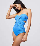 LOFT Beach Strapless Twist One Piece Swimsuit
