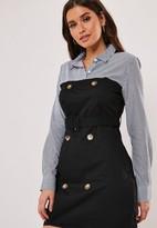 Missguided Black Belted Contrast Stripe Shirt Dress