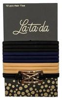 La-ta-da Gold X Pendant Hair Ties 10 Count