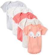 Rene Rofe Newborn/Infant Girls) 5-Pack Fox Bodysuits