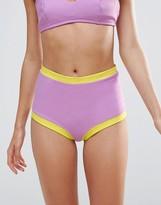 Lolli High Waist Bikini Bottoms with Contrast Trim