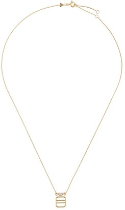 ALIITA 9kt Yellow Gold Baguette Diamond Grid Pendant Necklace