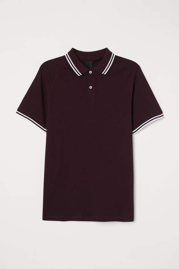 H&M Muscle Fit Polo Shirt - Purple
