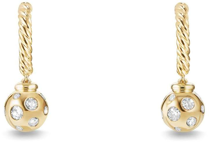 David Yurman 'Solari' Hoop Earrings with Diamonds in 18K Gold