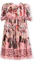 Dolce & Gabbana Chiffon Cat-Print Dress, Size 8-10