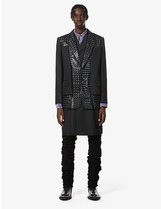 Comme des Garcons Checked padded-shoulder woven and shell coat