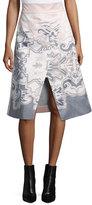 Tibi Silk Southwestern-Print Wrap Skirt, Blush