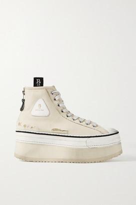R 13 Grosgrain-trimmed Distressed Canvas Platform High-top Sneakers - Ecru
