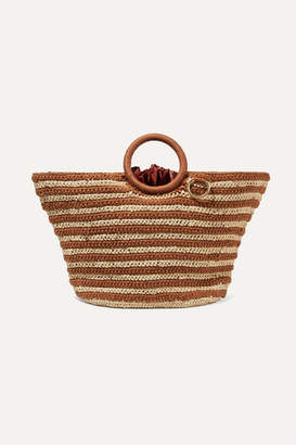 Mizele - Sun Striped Crocheted Raffia And Cotton Tote - Neutral