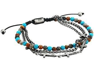 Steve Madden Tiger's Eye, Lapis, Onyx Coin Design Double Strand Beaded Stretch Bracelet
