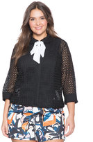 ELOQUII Plus Size Studio Lace Tie Jacket