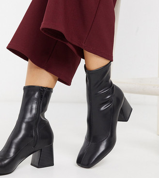 Monki stretch ankle boots with block heel in black