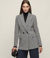Reiss Oakley - Wool-blend Double-breasted Blazer in White, Womens