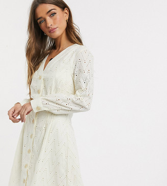 Y.A.S broderie skater dress with button through in cream