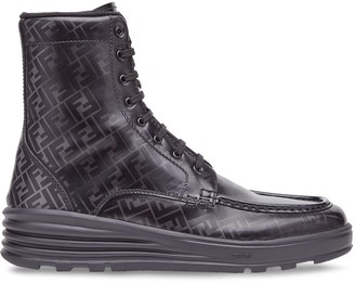 Fendi FF printed lace-up boots