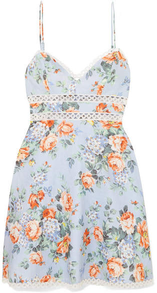 Zimmermann Bowie Crochet-trimmed Floral-print Linen Mini Dress - Sky blue