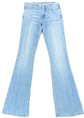 Fornarina 70er Hippie Vintage Retro Womens Flared Jeans Used-lookdenim (Sky Blue)