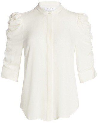 Frame Shirred-Sleeve Silk Button Blouse
