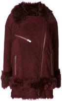 Drome furry trim coat - women - Lamb Skin/Polyester/Viscose - M