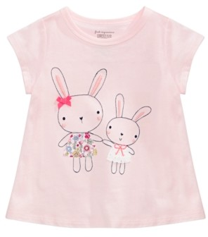 First Impressions Baby Girls Embroidered Cotton Bunny Sisters T-Shirt, Created for Macy's