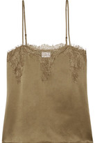 Cami NYC - Sweetheart Lace-trimmed Silk-charmeuse Camisole - Army green