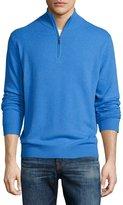 Neiman Marcus Cashmere Zip-Neck Sweater, Windsor