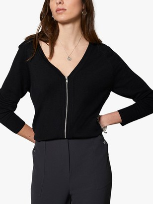 Mint Velvet Zip Front Cardigan, Black