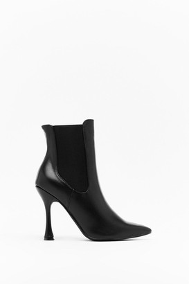 Nasty Gal Womens Point Made Faux Leather Stiletto Boots - Black - 3