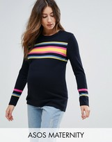 Asos Jumper With Bright Stripe