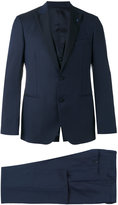 Lardini contrast lapel and button suit - men - Silk/Cupro/Viscose/Wool - 46