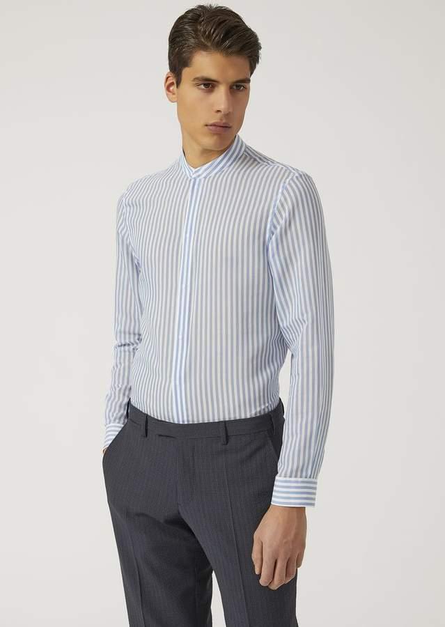 Emporio Armani Shirt In Striped Silk Blend