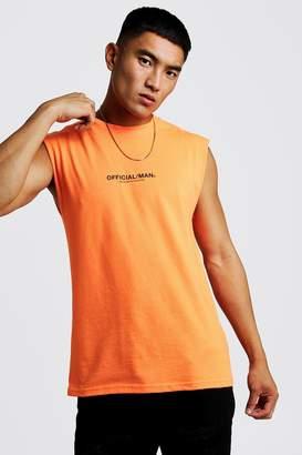 BoohoomanBoohooMAN Mens Orange MAN Official Drop Armhole vest, Orange