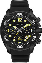 Bulova Men's UHF Chronograph Sea King Black Rubber Strap Watch 49mm 98B243