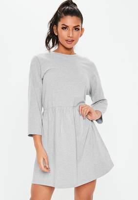 Missguided Grey Jersey Half Sleeve Oversized Smock Dress