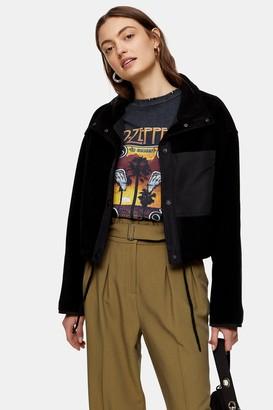 Topshop Womens Black Crop Fleece Jacket - Black