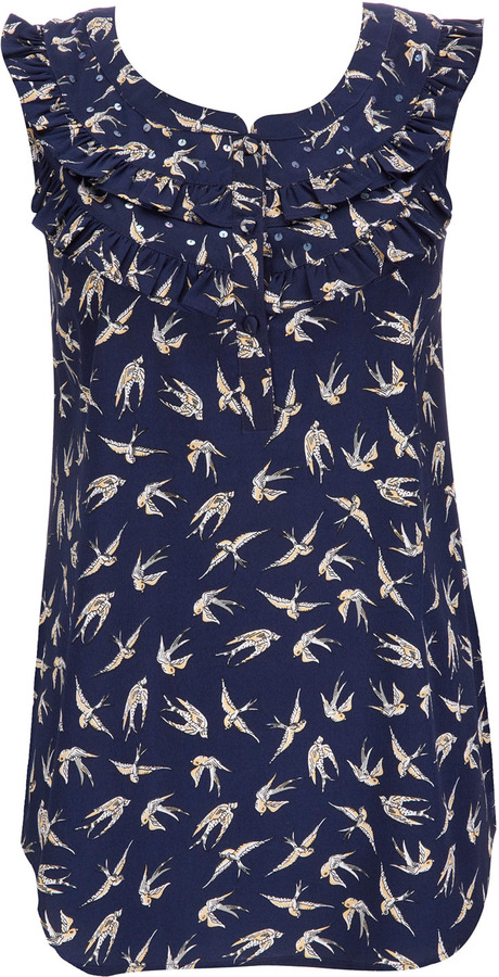 Wallis Blue Bird Print Top