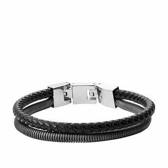 Fossil Men's Double-Strand Gunmetal-Tone Steel and Leather Bracelet