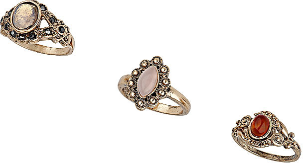 Topshop Mixed Stone Ring Pack
