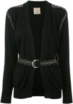 Laneus studded belted cardigan - women - Cotton/Aluminium/glass - 40